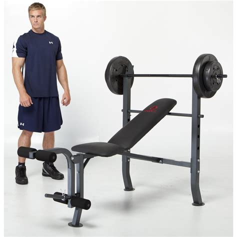 bench press 80 lbs marcy 174 opp bench and 80 lb weight set 195387 at