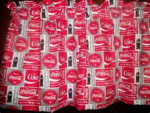 Coca Cola Kitchen Curtains Coca Cola Coke Soda Bottle Patchwork Curtain Kitchen Window Topper Valance Ebay