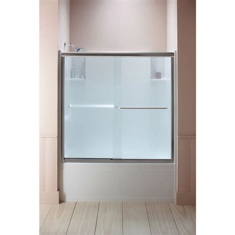 Sterling Glass Shower Doors by Sterling Finesse 59 5 8 In X 55 3 4 In Semi Frameless Sliding Tub Door In Nickel With Lake