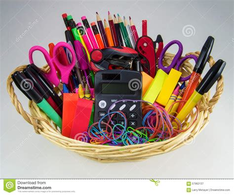 colorful office supplies royalty free stock image image colorful office supplies with calculator and red stapler