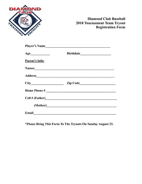 baseball registration form template baseball tryouts quotes quotesgram