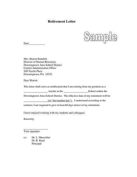 formal retirement letter templates