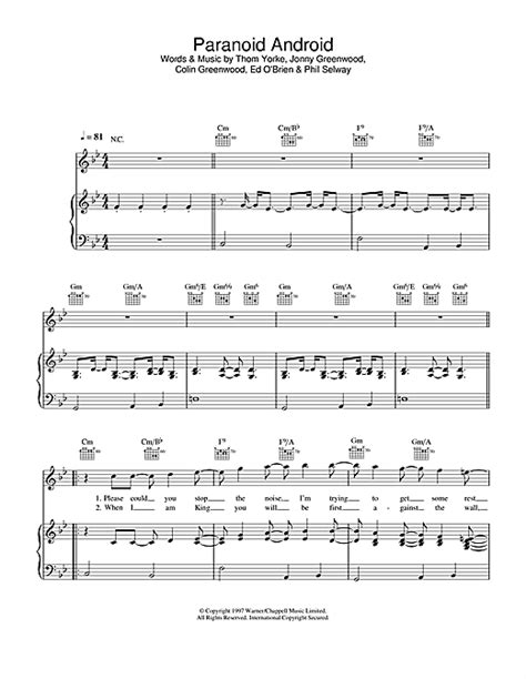 paranoid android chords paranoid android sheet by radiohead piano vocal guitar right melody 31107