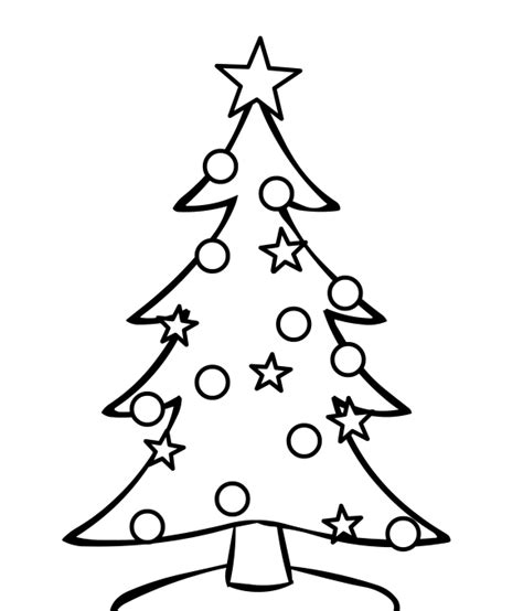 easy christmas tree coloring pages for children