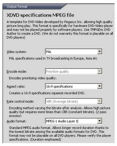dvd format specification tmpgenc 4 mpeg 2 and mpeg 1 video settings page 7 8