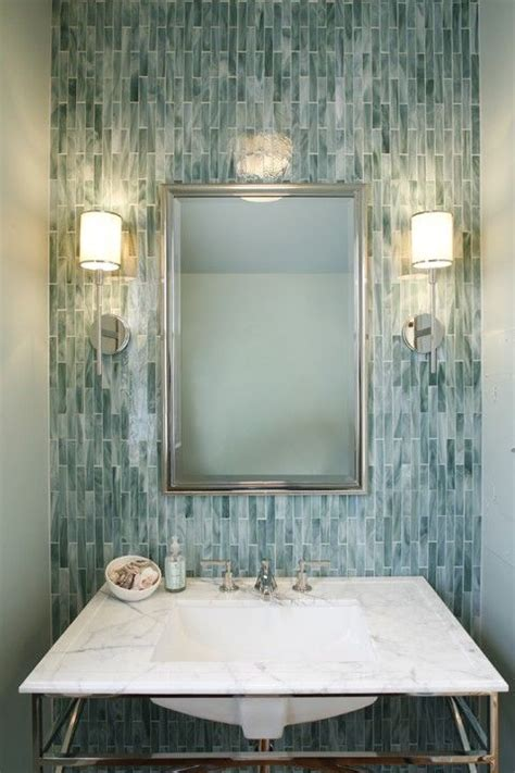 vertical tile bathroom gorgeous vertical blue gray tile with marble vanity top