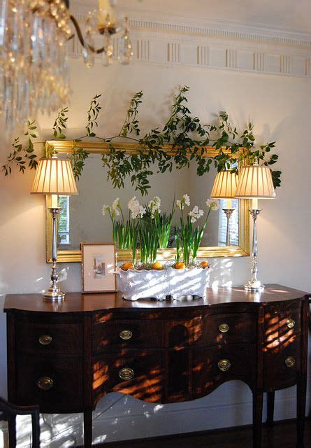 Very Pretty Sideboard Love White Daffodils Ls And Buffet Mirrors Dining Room