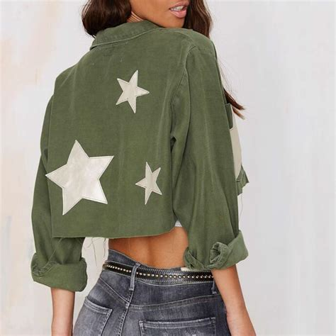 Jaket Bomber Crop Army popular cropped jacket buy cheap cropped