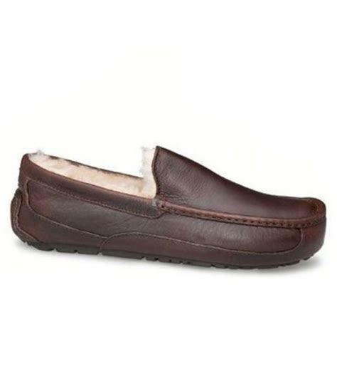 ugg house shoes for men ugg 174 ascot men s leather slippers in brown for men lyst