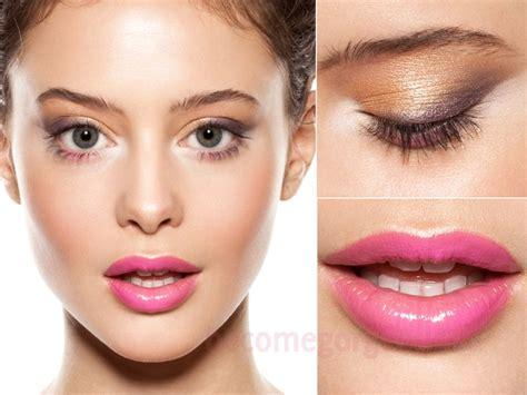 nice natural makeup tutorial pretty spring makeup glossy pink lips metallic eyes