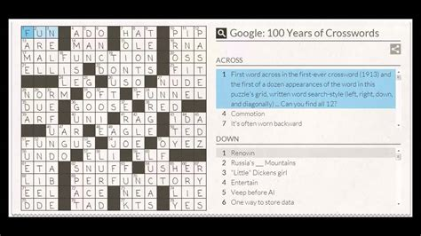 usa today crossword help google crossword puzzle answers youtube