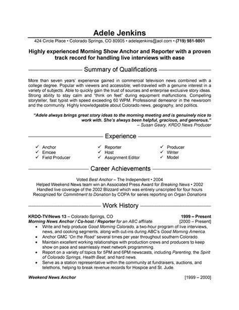 Resume Objective Exles Journalism Sle Resume Format Sle Tv Presenter Resume