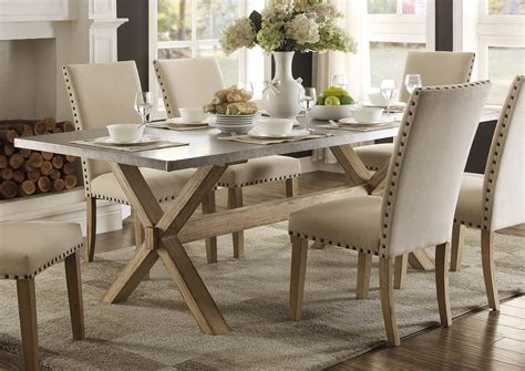 zinc top dining table luella cool weathered oak zinc top dining table from