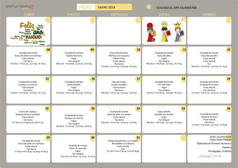 menu comedor escolar 218 comedor escolar enero colegio el ope