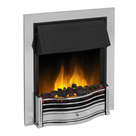 fireplace display dimplex danesbury led electric fire in chrome dan20ch led