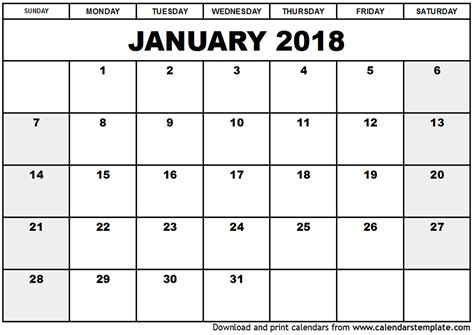Calendar 2018 January Uk January 2018 Calendar Uk Printable Template With Holidays