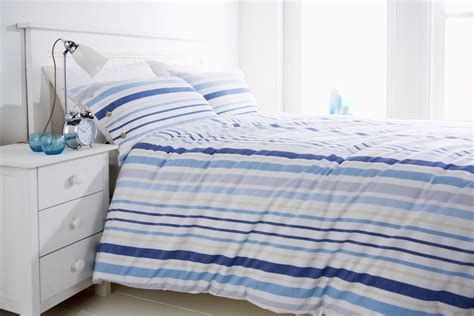 blue stripe 100 cotton nautical bedding duvet cover set