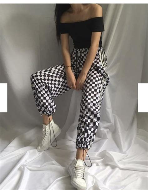 pants checkered jeans checkered pants black and white pants girly black black and white checkered checkered