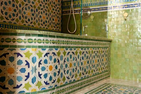 Mosaic Tiles Bathroom Ideas Moroccan Bathrooms Mediterranean Bathroom New York