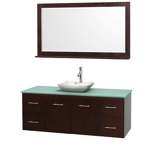 Green Glass Vanity Top by Wyndham Collection Centra 60 In Vanity In Espresso With