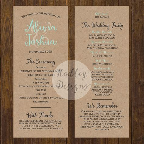 wedding ceremony program ideas hadley designs programs