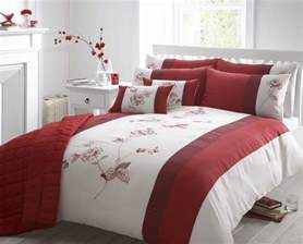 duvet coverlets beautiful red colour embroidered faux silk duvet cover