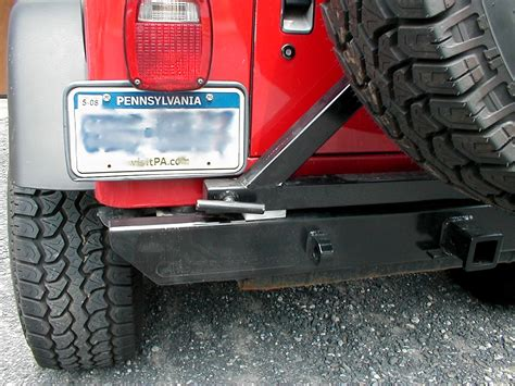 jeep yj rear bumper atoz fabrication rear receiver bumper tire carrier for