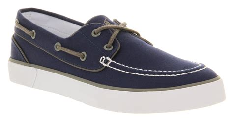 mens ralph lander canvas boat shoe navy canvas