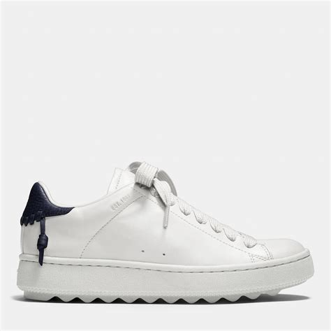 coach white sneakers coach c101 leather low top sneakers in white lyst