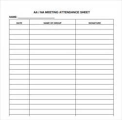 Na Meeting Format Template by Attendance Sheet Templates 10 Free Documents