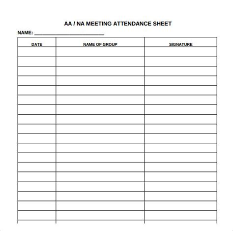 attendance book template simple and clean company meeting attendance log sheet