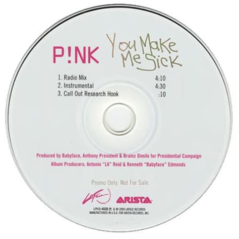 Guess Who Does Pink Make You Puke by Pink You Make Me Sick Usa Promo 5 Quot Cd Single Lfpcd 4520