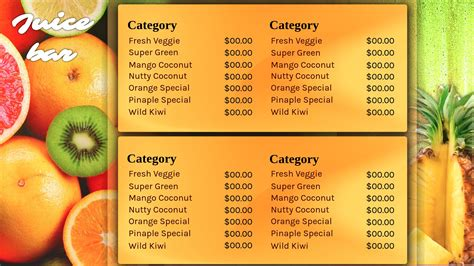 Restaurant Signage Templates Signagecreator Juice Menu Template