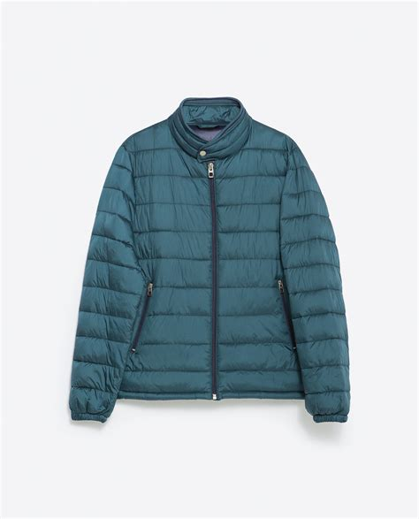 Green Quilted Jacket by Zara Quilted Jacket With Knit Details In Green For