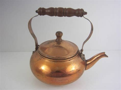 antique vintage copper tea kettle pot decorative 2 cup