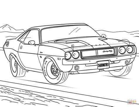 1970 Dodge Challenger Coloring Page Free Printable General Car Coloring Pages