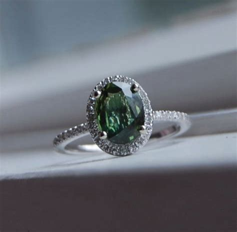 Green Saphire 14 2ct forest green sapphire ring 14k white gold 2498771