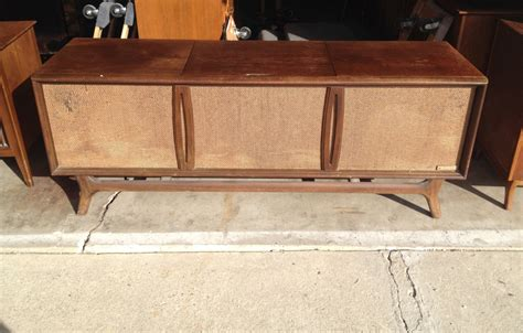 vintage record player cabinet parts mid century modern stereo console for parts only mid