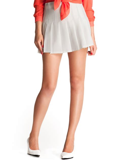 white high waist pleated mini skirt choies