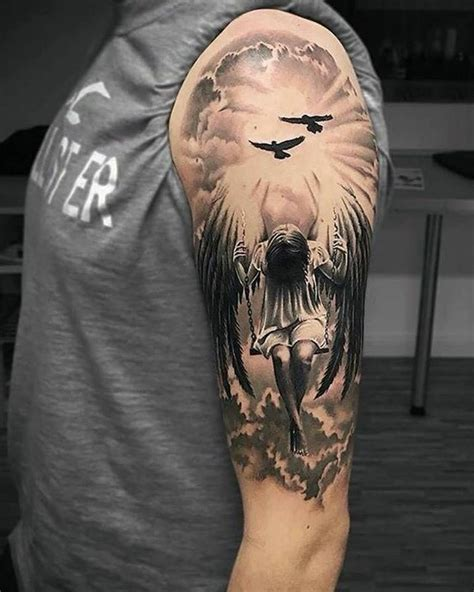 half sleeve angel tattoos for men stunning half sleeve tattoos i