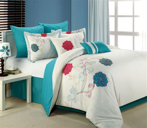 Bedding 12 8pc luxury bedding set lucile white teal pink