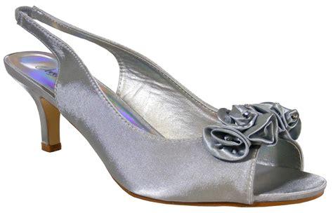 silver sandals for wedding low heel silver soft satin diamante slingbacks low heels