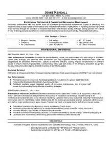 Maintenance Technician Resume by Free Maintenance Technician Resume Exle