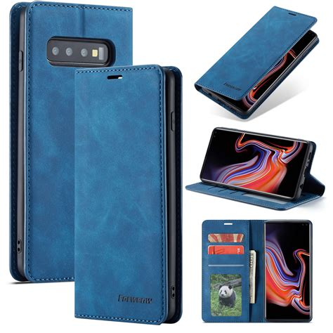 samsung galaxy se blue magnetic leather wallet case