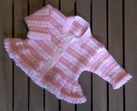 baby knitting patters baby pink stripe fair isle cardigan knitting