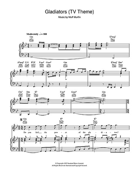 theme music to gladiator gladiators tv theme sheet music by the gladiators piano