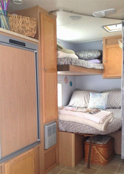 in the bedroom trailer rv bunks bedroom remodel travel trailer cer turned