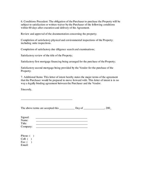 Promotion Intent Letter letter of intent real estate