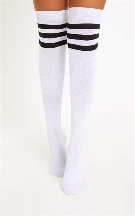 white amp black striped over the knee socks prettylittlething