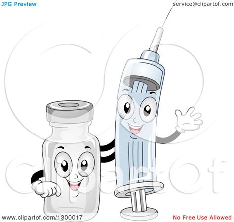 clipart of cartoon syringe and medical vial characters